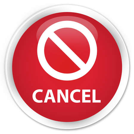 deny: Cancel (prohibition sign icon) red glossy round button Stock Photo