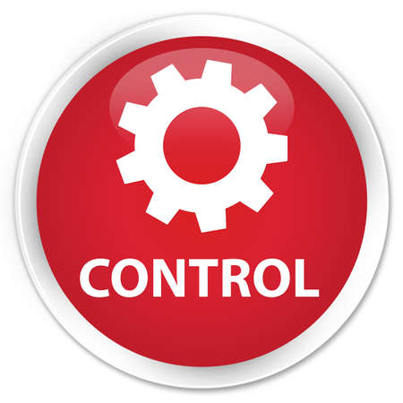 preference: Control (settings icon) red glossy round button Stock Photo