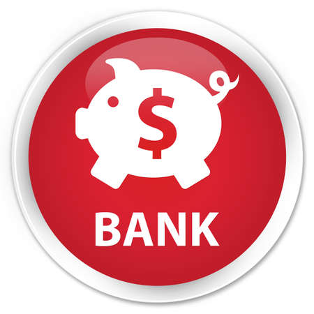 saving accounts: Bank (piggy box dollar sign) red glossy round button