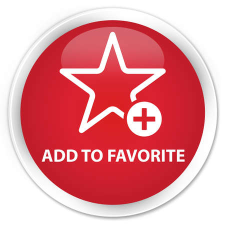 add button: Add to favorite red glossy round button Stock Photo