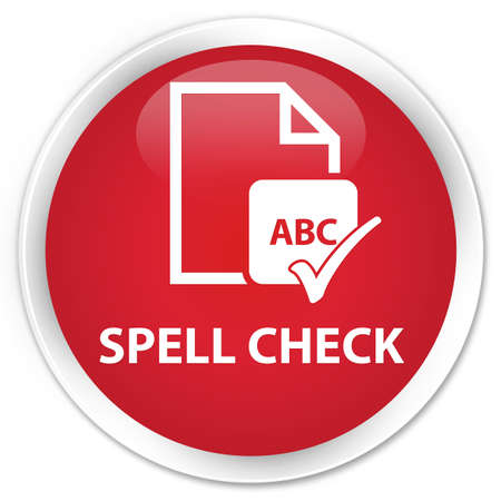 ok sign language: Spell check document red glossy round button Stock Photo