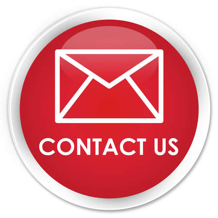 email contact: Contact us (email icon) red glossy round button
