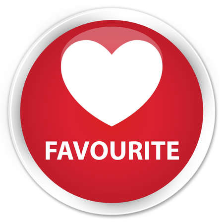 favourite: Favourite (heart icon) red glossy round button Stock Photo
