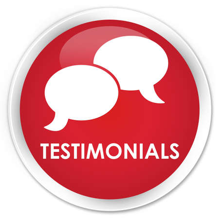 authenticate: Testimonials (chat icon) red glossy round button