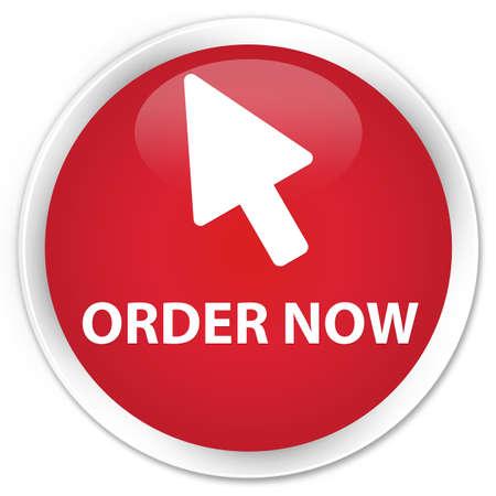 Commandez maintenant (curseur icône) rouge bouton rond brillant Banque d'images - 56888729