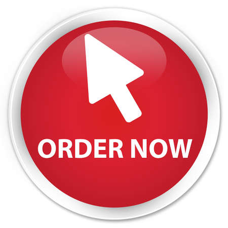 Order now (cursor icon) red glossy round button Фото со стока