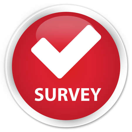 Survey (validate icon) red glossy round button Stock Photo