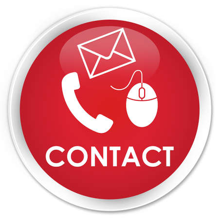 email contact: Contact (phone, email and mouse icon) red glossy round button Stock Photo