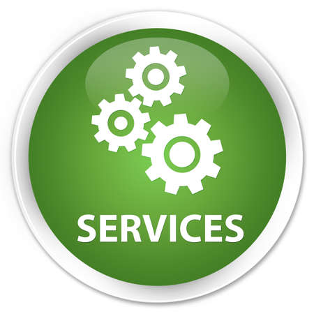 preference: Services (gears icon) soft green glossy round button