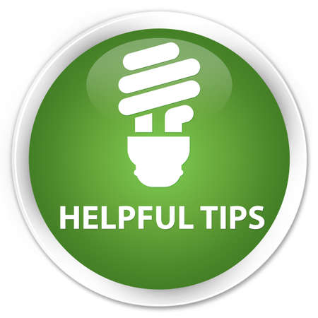 helpful: Helpful tips (bulb icon) soft green glossy round button
