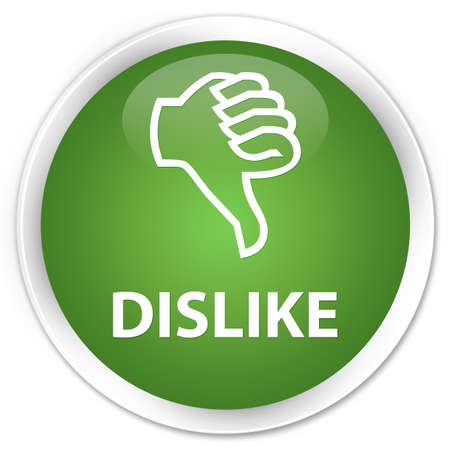 unsatisfied: Dislike soft green glossy round button Stock Photo