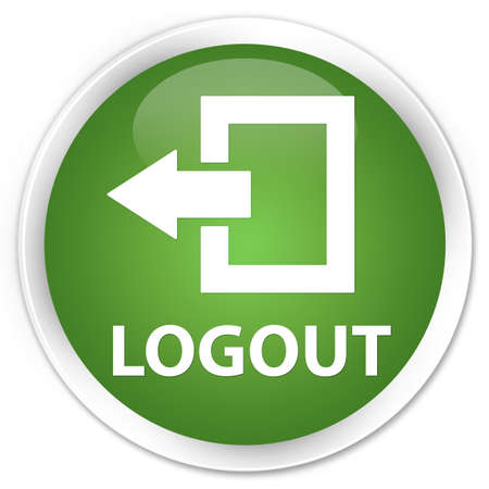 log off: Logout soft green glossy round button