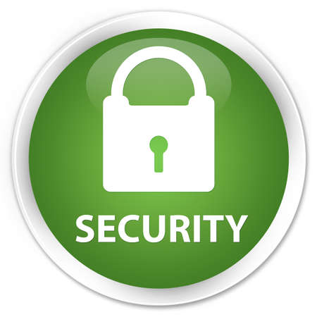 safeguard: Security (padlock icon) soft green glossy round button