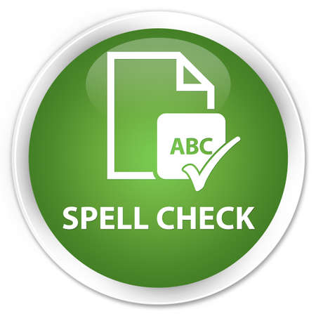 paper spell: Spell check document soft green glossy round button Stock Photo