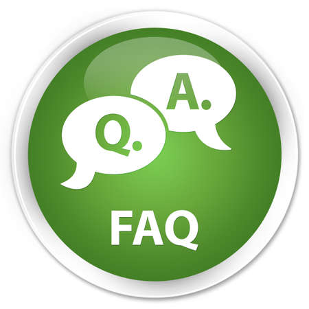 answers: Faq (question answer bubble icon) soft green glossy round button