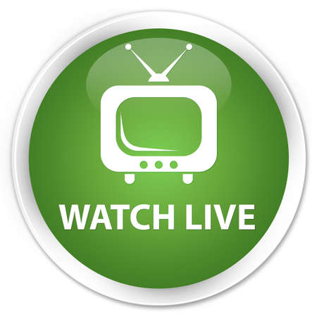 live entertainment: Watch live soft green glossy round button