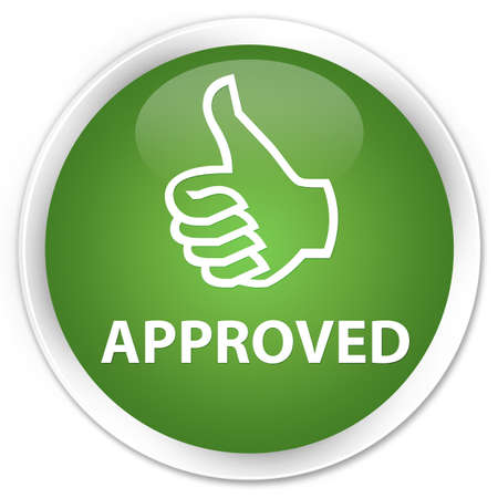thumbs up icon: Approved (thumbs up icon) soft green glossy round button