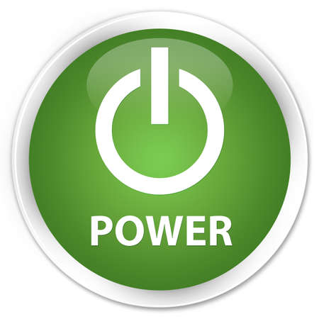 green power: Power soft green glossy round button