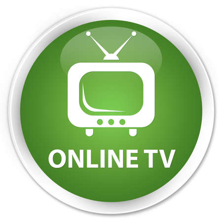tv station: Online tv soft green glossy round button Stock Photo