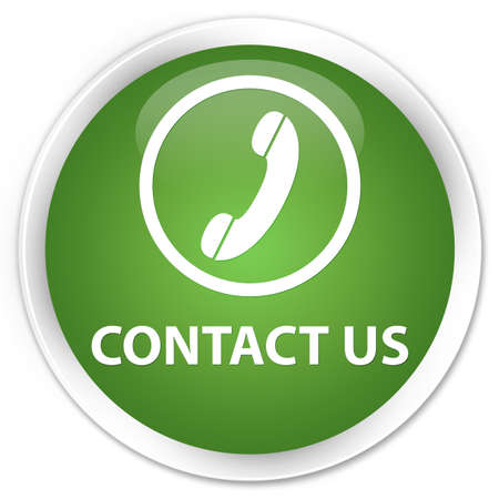 contact us phone: Contact us (phone icon round border) soft green glossy round button Stock Photo