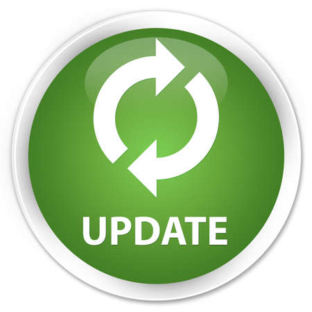 update: Update soft green glossy round button Stock Photo