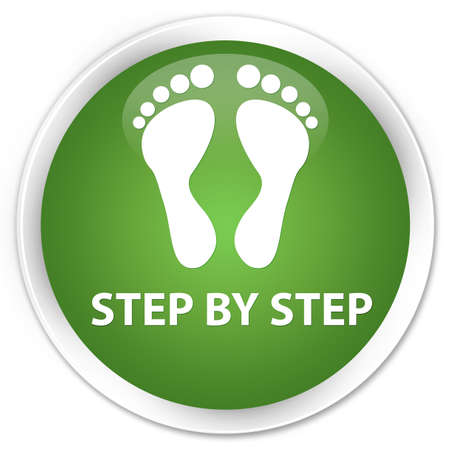 green footprint: Step by step (footprint icon) soft green glossy round button Stock Photo