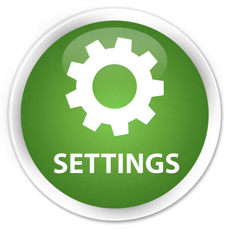 preference: Settings soft green glossy round button