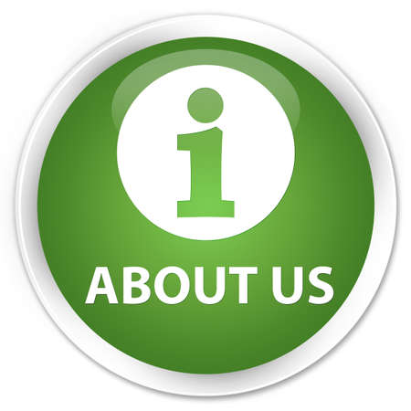 about us: About us soft green glossy round button