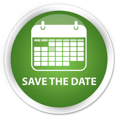 event planner: Save the date soft green glossy round button