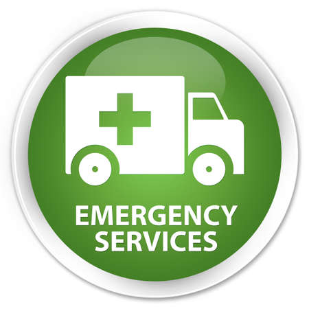 emergency services: Emergency services soft green glossy round button