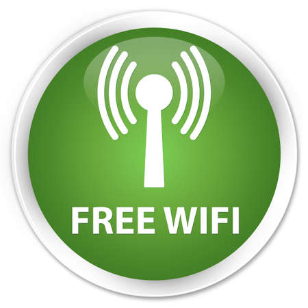 wlan: Free wifi (wlan network) soft green glossy round button Stock Photo
