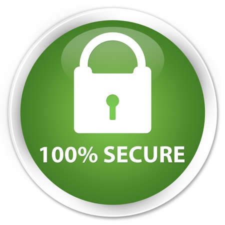 encrypt: 100% secure soft green glossy round button