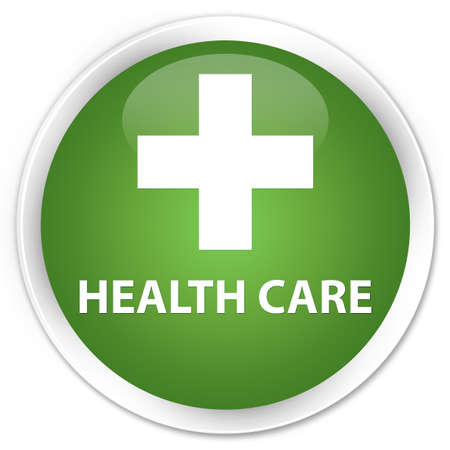 green plus: Health care (plus sign) soft green glossy round button