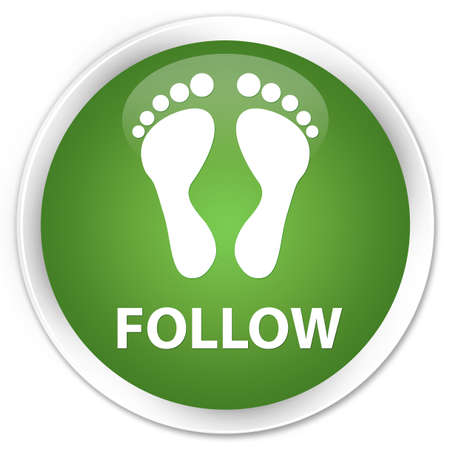 green footprint: Follow (footprint icon) soft green glossy round button