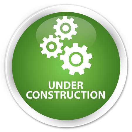 under control: Under construction (gears icon) soft green glossy round button