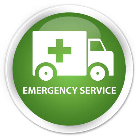 heathcare: Emergency service soft green glossy round button