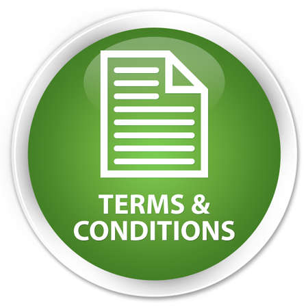 information technology law: Terms and conditions (page icon) soft green glossy round button