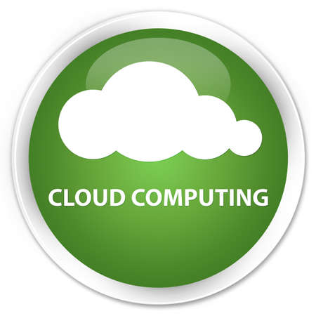 green computing: Cloud computing soft green glossy round button