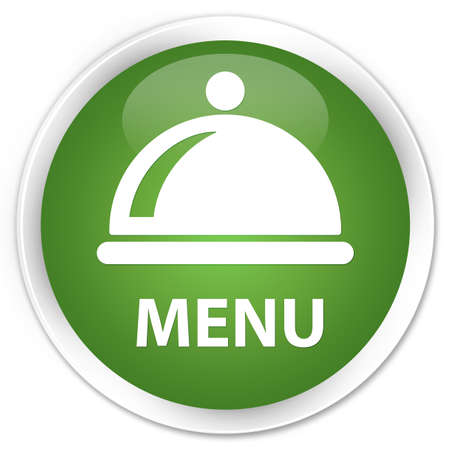 green button: Menu (food dish icon) soft green glossy round button Stock Photo