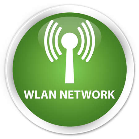 wlan: Wlan network soft green glossy round button Stock Photo