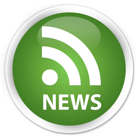 news current events: News (RSS icon) soft green glossy round button