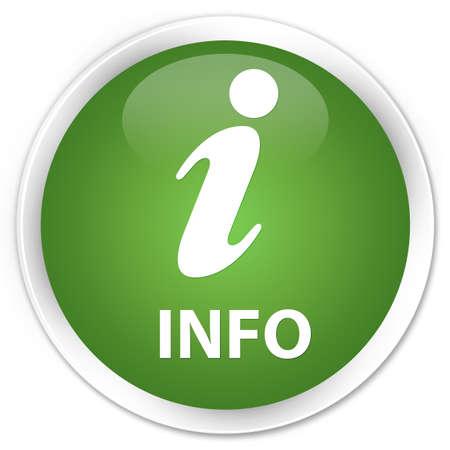 inform information: Info soft green glossy round button Stock Photo