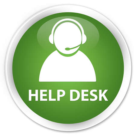 Help desk (customer care icon) soft green glossy round button