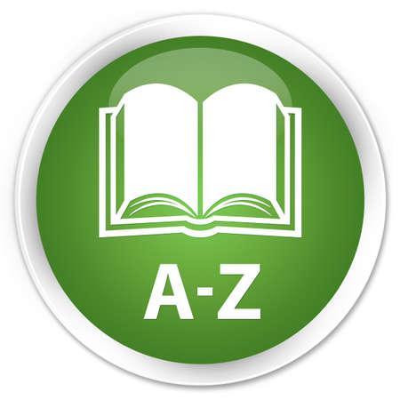az: A-Z (book icon) soft green glossy round button