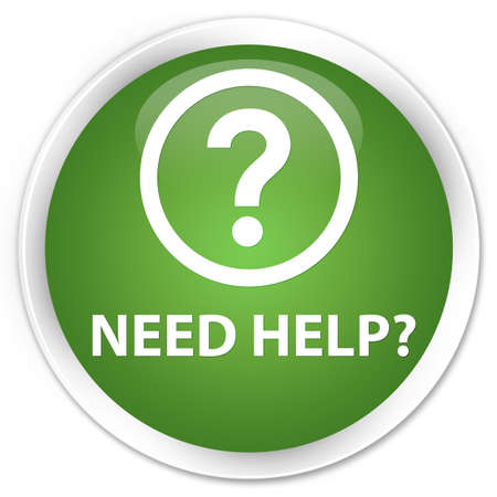 need help: Need help (question icon) soft green glossy round button