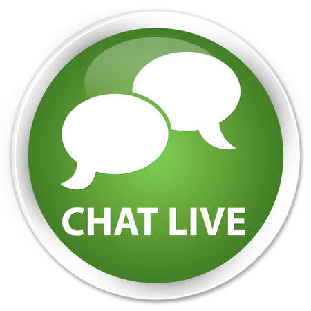 instant message: Chat live soft green glossy round button