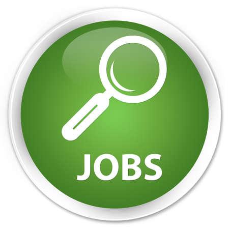 jobs: Jobs soft green glossy round button