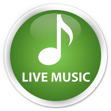 tunes: Live music soft green glossy round button