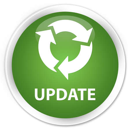 refresh icon: Update (refresh icon) soft green glossy round button Stock Photo