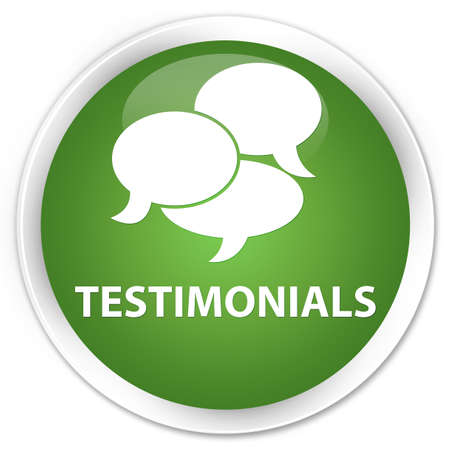 comments: Testimonials (comments icon) soft green glossy round button Stock Photo